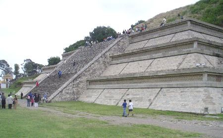 Great Pyramid of Cholula showing restored staircase