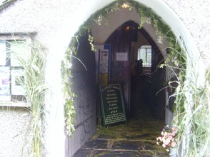 The entrance to the church