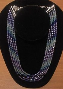 A cascading necklace of faceted cut glass beads.