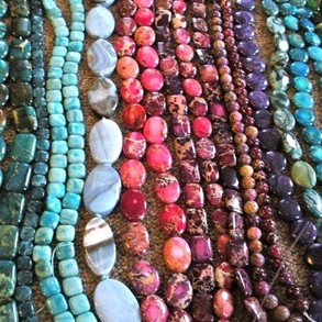 A variety of beads for jewelry making