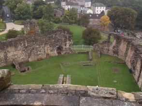 View from the top down into the castle.