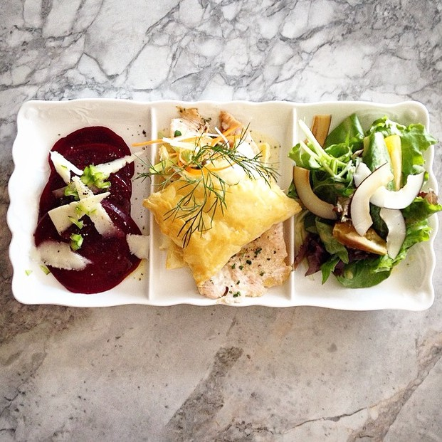 Trio Plate: Beet salad, salmon puff pastry and coconut salad.