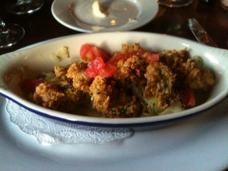 Fried oysters at Cochon, a long-standing French BYOB in Philadelphia