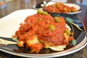 Filet of Fish in Tomato & Olive Sauce