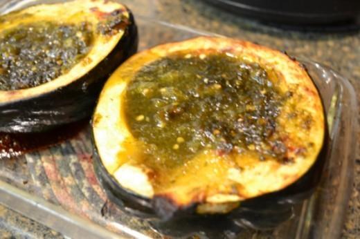 50. Roasted Acorn Squash with Green Tomato and Jalapeno Jam