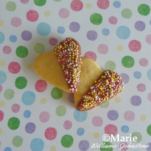 Mini Sugar Heart Cookies with Chocolate and Sprinkles