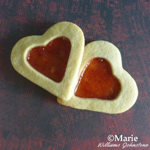Jelly (jam/preserve) filled heart shaped cookies