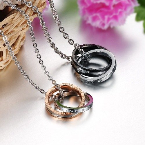 Couples Matching Interlocking Double Rings Engraved Promise Necklace Sets Romantic Gift