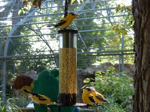 Goldfinches Lego Sculpture
