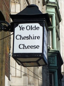 Ye Olde Cheshire Cheese Sign in Fleet Street, London