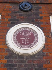 Plaque on the Home of Dr. Johnson