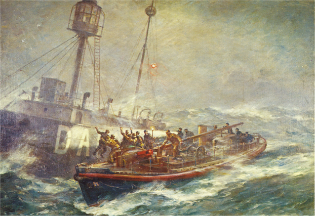 Ballycotton Lifeboat and Daunt Rock Lightship: 1936 oil painting selected as 1974 commemorative stamp for RNLI's 150th anniversary