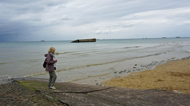 Mulberriy Harbours can still be seen in the waters at Arromanches