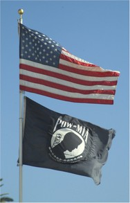 United States and P.O.W flags