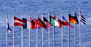 International Flags over the Water