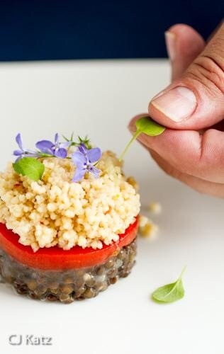 Beluga lentil salad with roasted red pepper, couscous, micro cilantro and lavender.