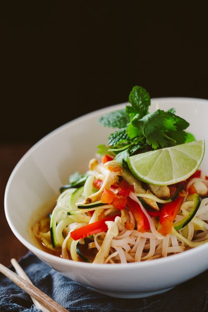 Hot Hot Hot Noodle Bowl: hot & spicy thai lemongrass tomato broth, red peppers, rice noodles, cilantro, mint & lime