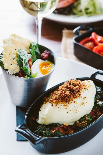 Duck Sheperd's Pie: Spiced roasted duck, Du Puy lentils, tomato ragout, kale, mashed potatoes, crispy duck pangrittata