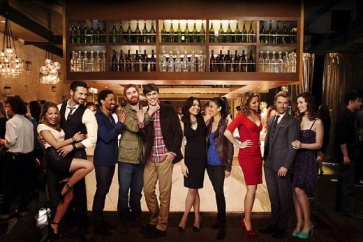 Vanessa Lengies (far left) with the rest of the cast of the upcoming show Mixology.