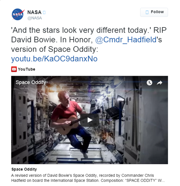 NASA's tribute to David Bowie