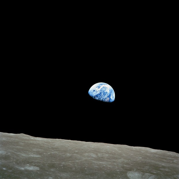 view of rising Earth from 484 miles (778.92 kilometers) above the Moon's surface