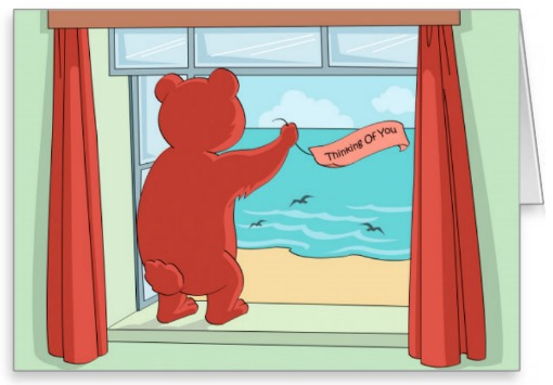 Teddy with Thinking of You banner