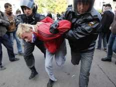 Man being arrested for campaigning for Gay Rights in Russia