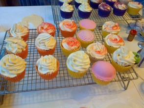 the domed cupcakes are in pink