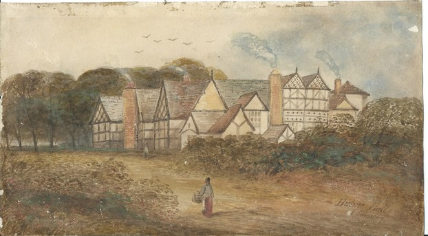 a very old painting of the original Hulme Hall