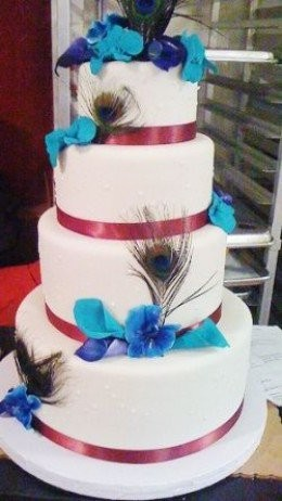 Tiered Peacock Wedding Cake