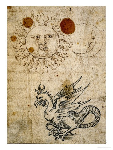 The Sun, The Moon and a Basilisk, Around 1512 by Albrecht Dürer