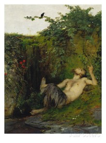 Faun Blowing a Whistle to a Blackbird, 1863 by Arnold Bocklin