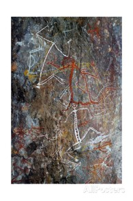 Aboriginal Rock Painting of Mimi Spirits from the Kakadu National Park