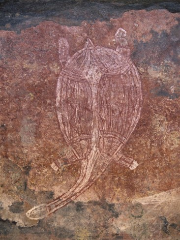 Painting of Turtle at the Aboriginal Rock Art Site at Obirr Rock in Kakadu National Park  by Robert Francis