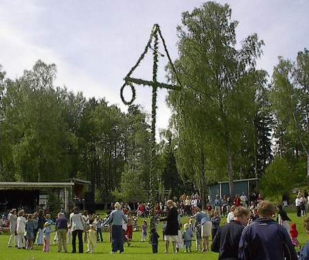 Maypole dancing at midsummer in Sweden