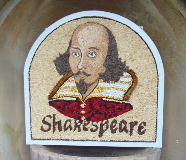Shakespeare's face was made with different shades of egg shells