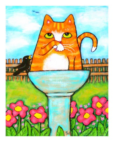 Tabby Cat In The Bird Bath  by Jamie Edwards