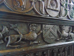 hand carving on pew