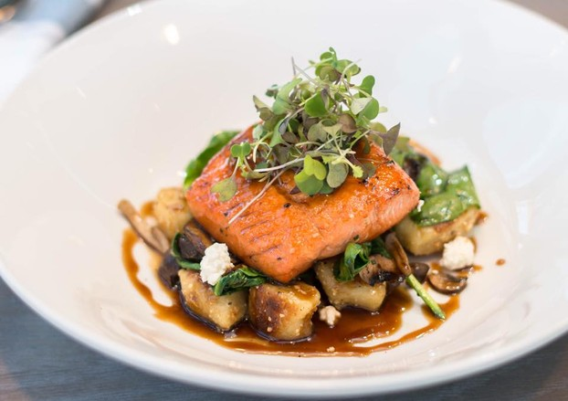 Wild Coho Salmon,Pan-Fried Gnocchi, House Ricotta, Macadamia Butter, Wild Mushrooms, Maple Soy Glaze