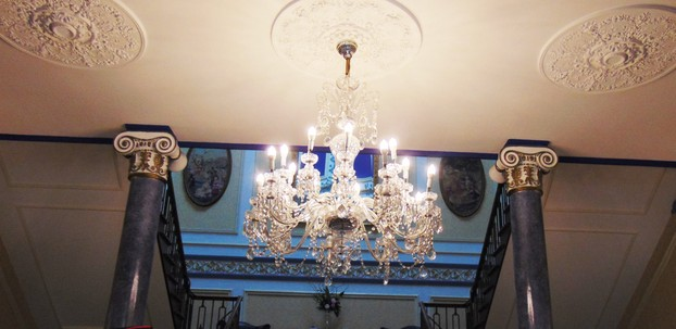 chandeliers and plaster work on ceilings