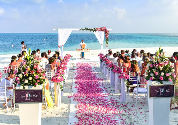 Ocean backdrop at a beach wedding ceremony