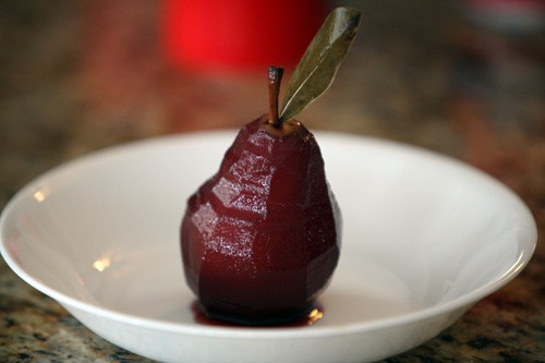 Wine paoched pears