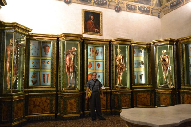 David standing in front of some of the amazing wax models in the Poggi collection.