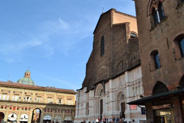 The Piazza Maggiore in the heart of historic Bologna. The Basilica di San Petronio is notable for its unfinished facade.