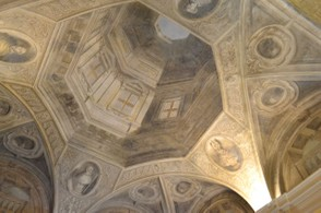 It looks real, but it's just a painting! A trompe l'oeil ceiling in Bologna.