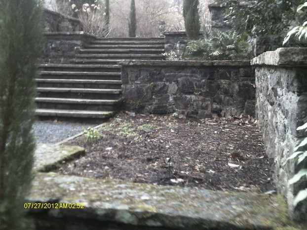 Steps in the formal gardens