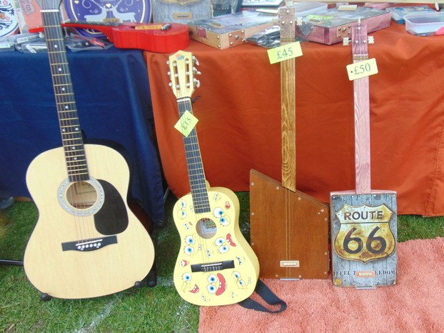 Some of Josh's handmade guitars