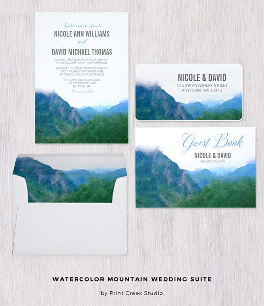 Watercolor Mountain Custom Wedding Stationery Set