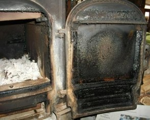 How to clean the glass on a wood-burning stove