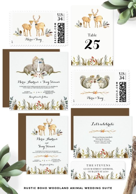 Boho Gypsy Woodland Animals Wedding theme